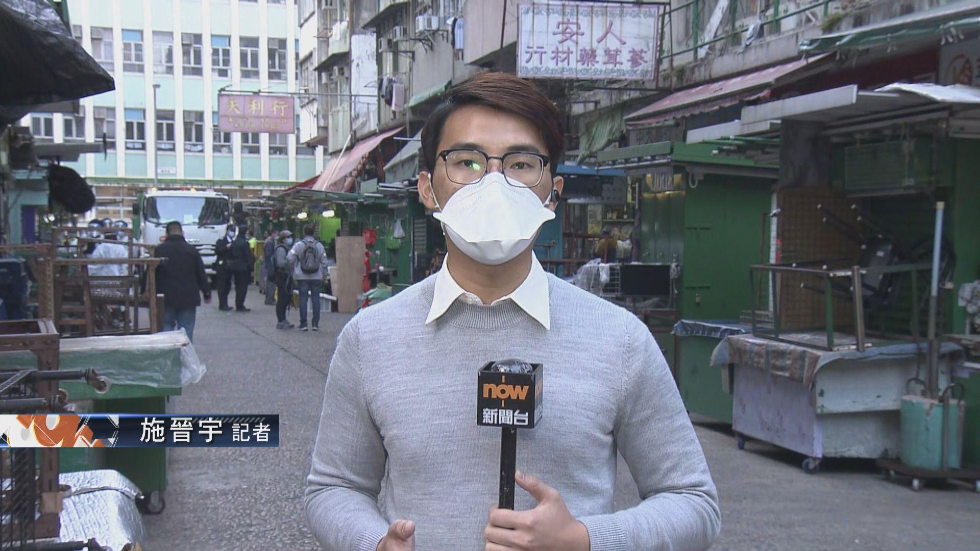 【佐敦直擊·現場報道】食環署職員在受限區域一帶清潔消毒