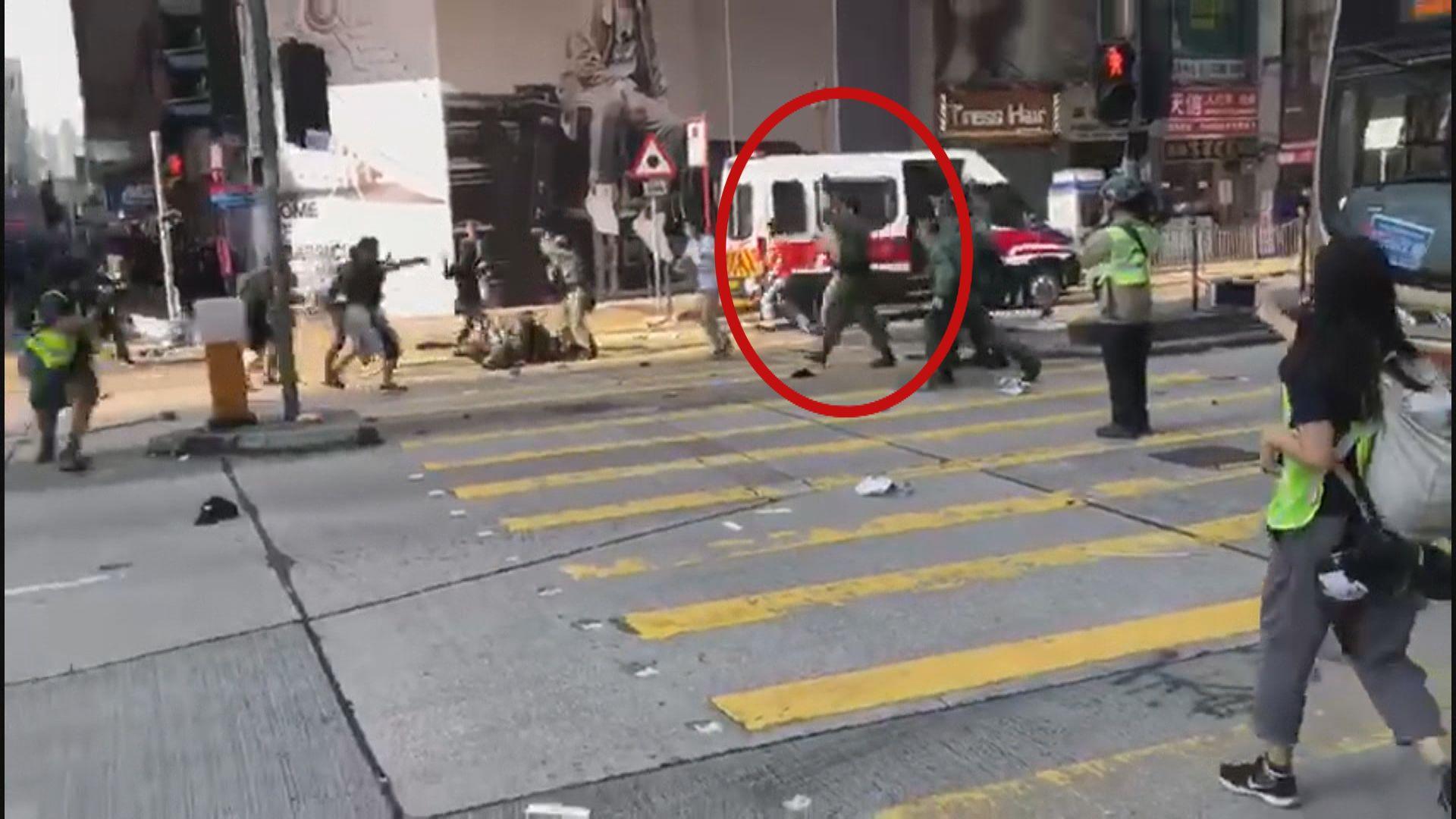 警員彌敦道被示威者襲擊 開兩槍實彈示警