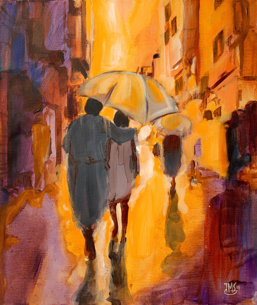來自法國的著名的當代表現主義藝術家Jean Michel Garczynski就帶來「Ensemble sous la pluie」,展現兩人一起在雨中的意境。