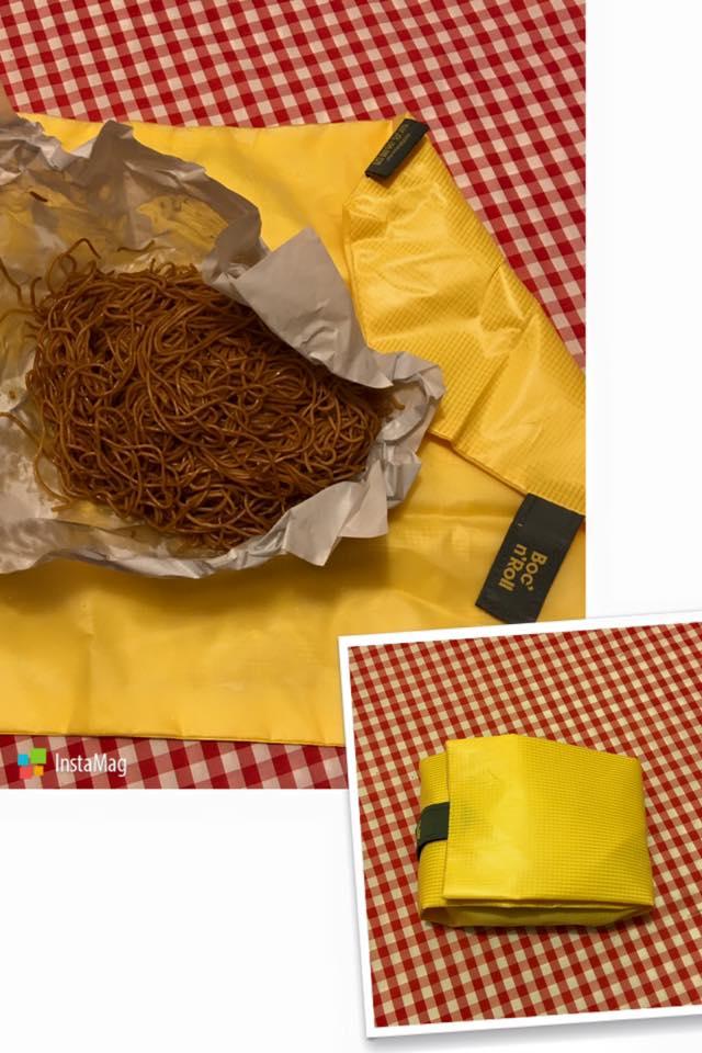 共有3個款式,用這款就將Eco-Wrap向中心摺4下,再用魔術貼固定。(Facebook圖片)