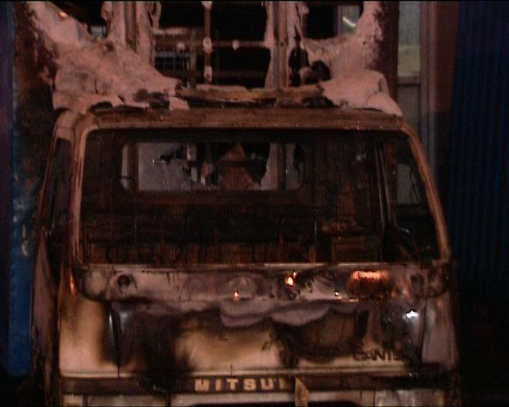 將軍澳兩漢涉縱火燒貨車被捕