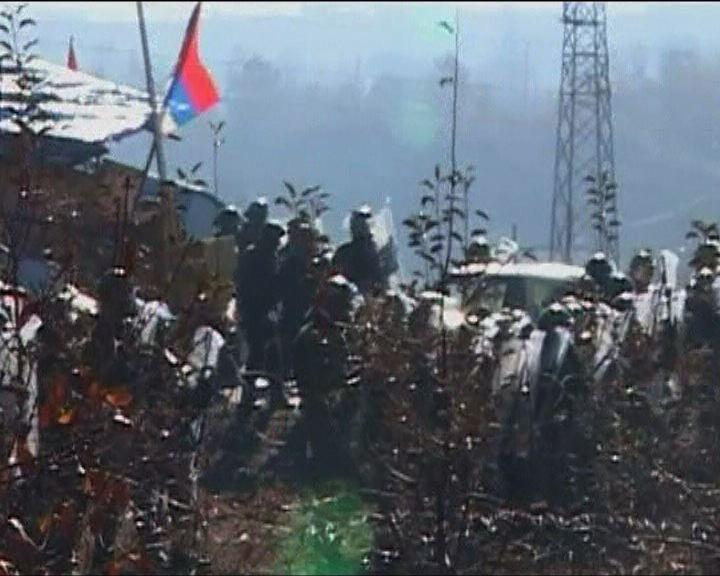 北約部隊與塞爾維亞示威者衝突