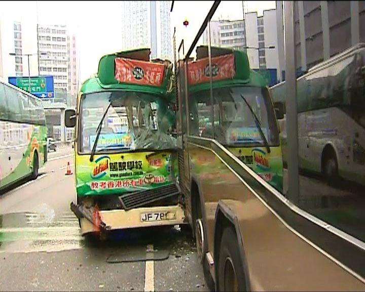 荃灣小巴與巴士相撞12人傷