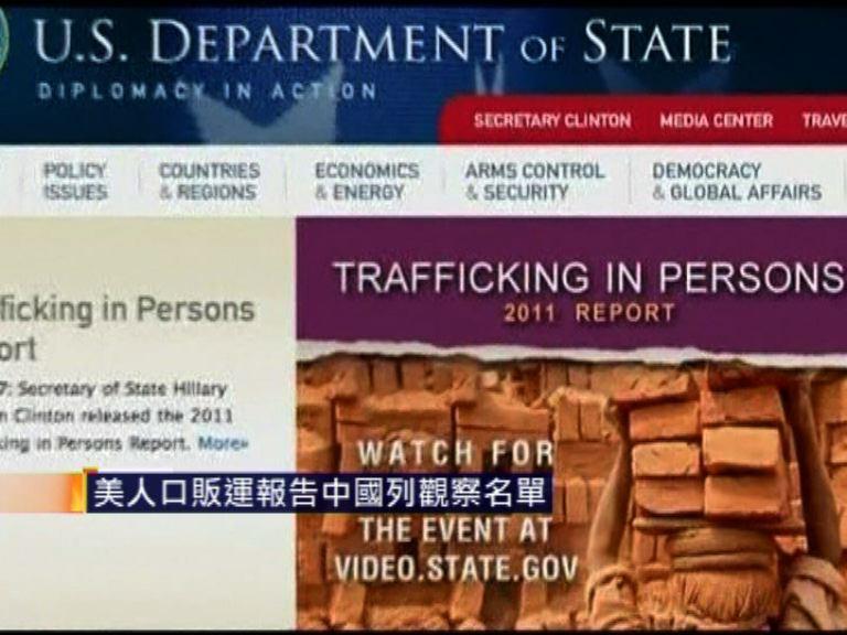美人口販運報告中國列觀察名單