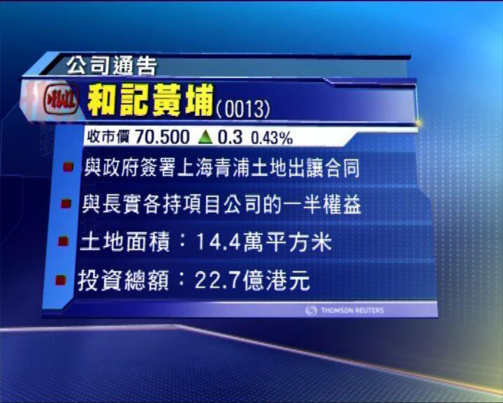和黃與長實逾23億發展上海青浦區項目