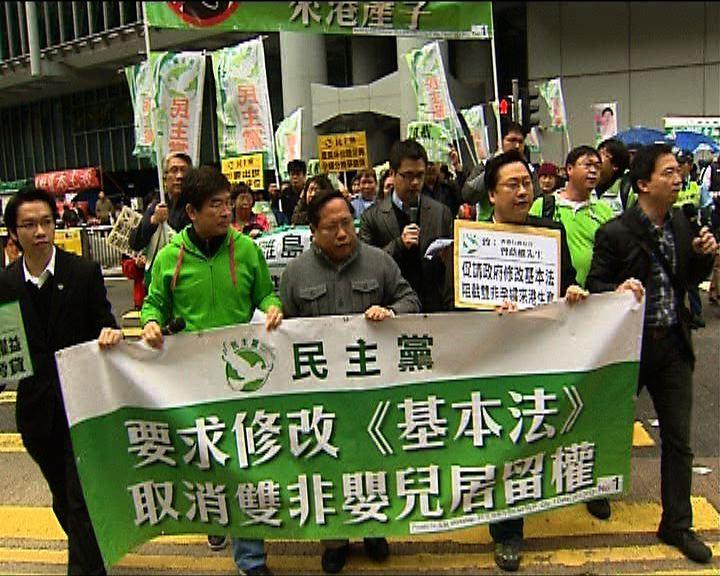 民主黨遊行促修法堵雙非