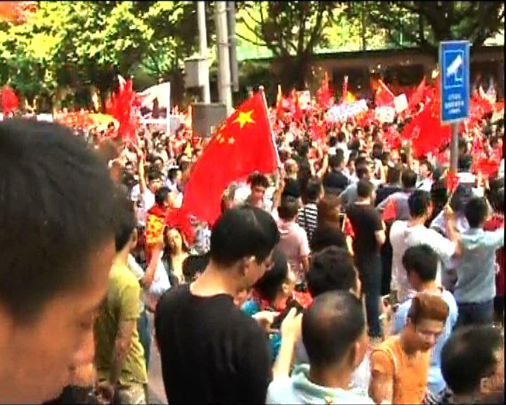 廣州千人反日衝入領事館旁酒店