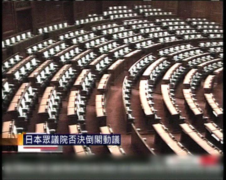 日本眾議院否決倒閣動議