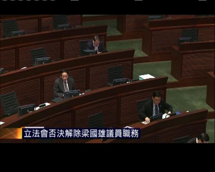 立法會否決解除梁國雄議員職務