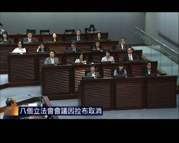 八個立法會會議因拉布取消