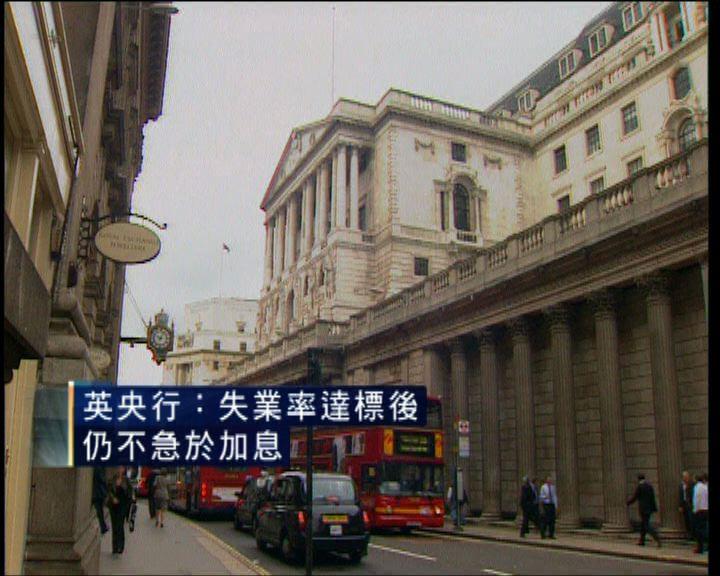 英倫銀行:失業率達標亦不急於加息