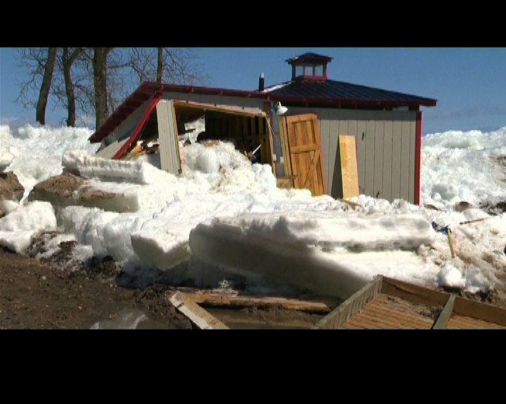 美加受冰塊侵襲部分房屋盡毀