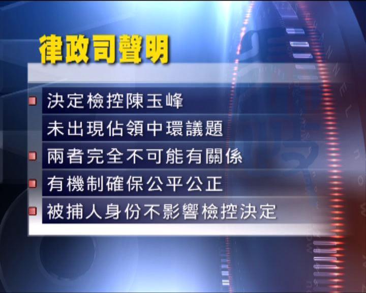 律政司指檢控陳玉峰無政治考慮