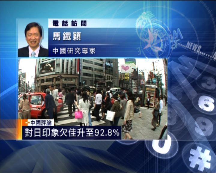 中國評論:中日印象互不良好齊超九成