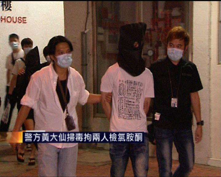 警方黃大仙掃毒拘兩人檢氯胺酮