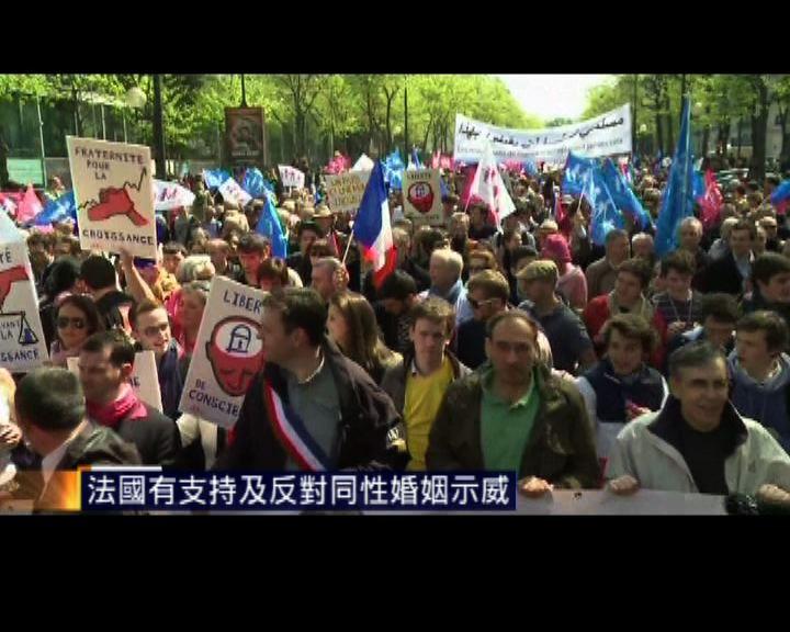 法國有支持及反對同性婚姻示威