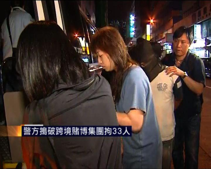 警方搗破跨境賭博集團拘33人