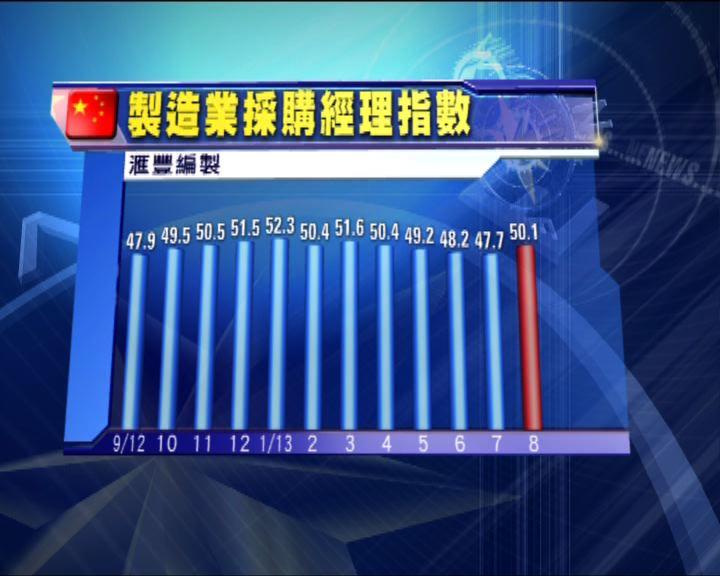 中國製造業採購經理指數重上50水平