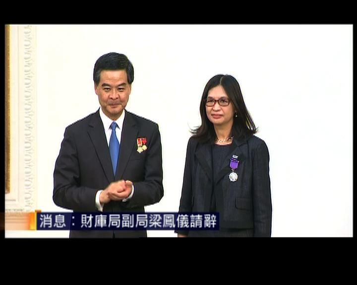消息:財庫局副局梁鳳儀請辭由劉怡翔接任