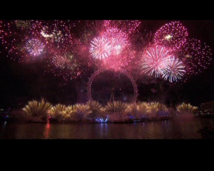 英國倫敦煙花匯演迎新年