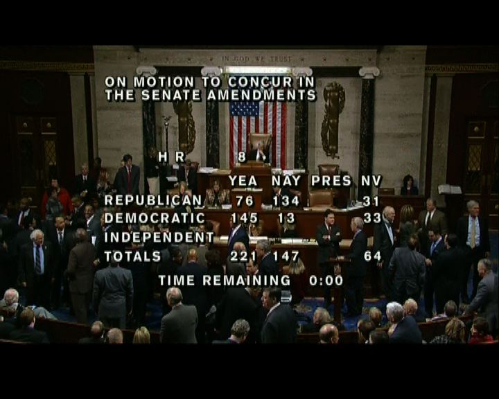 美國眾議院通過化解財政懸崖方案