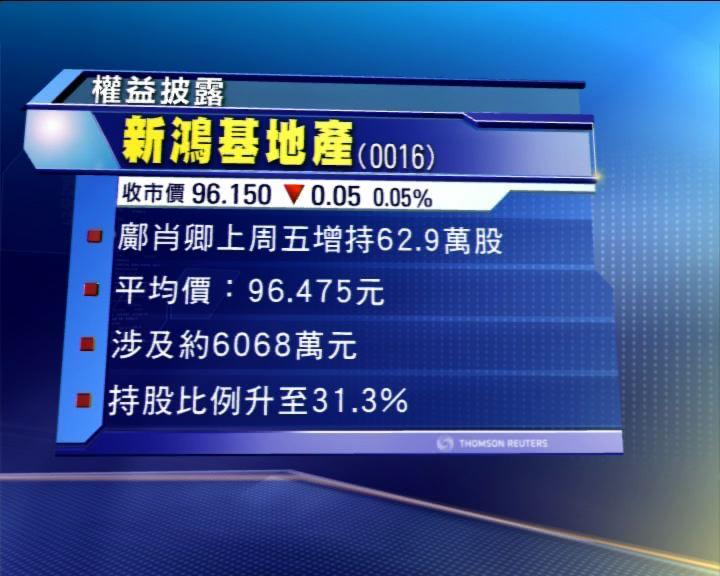 郭老太增持新地股權至31.3%