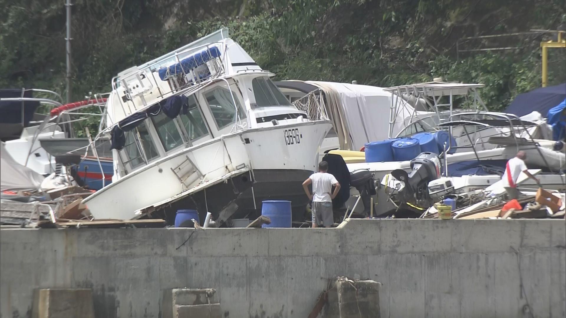 西貢多艘遊艇風暴期間被吹上岸