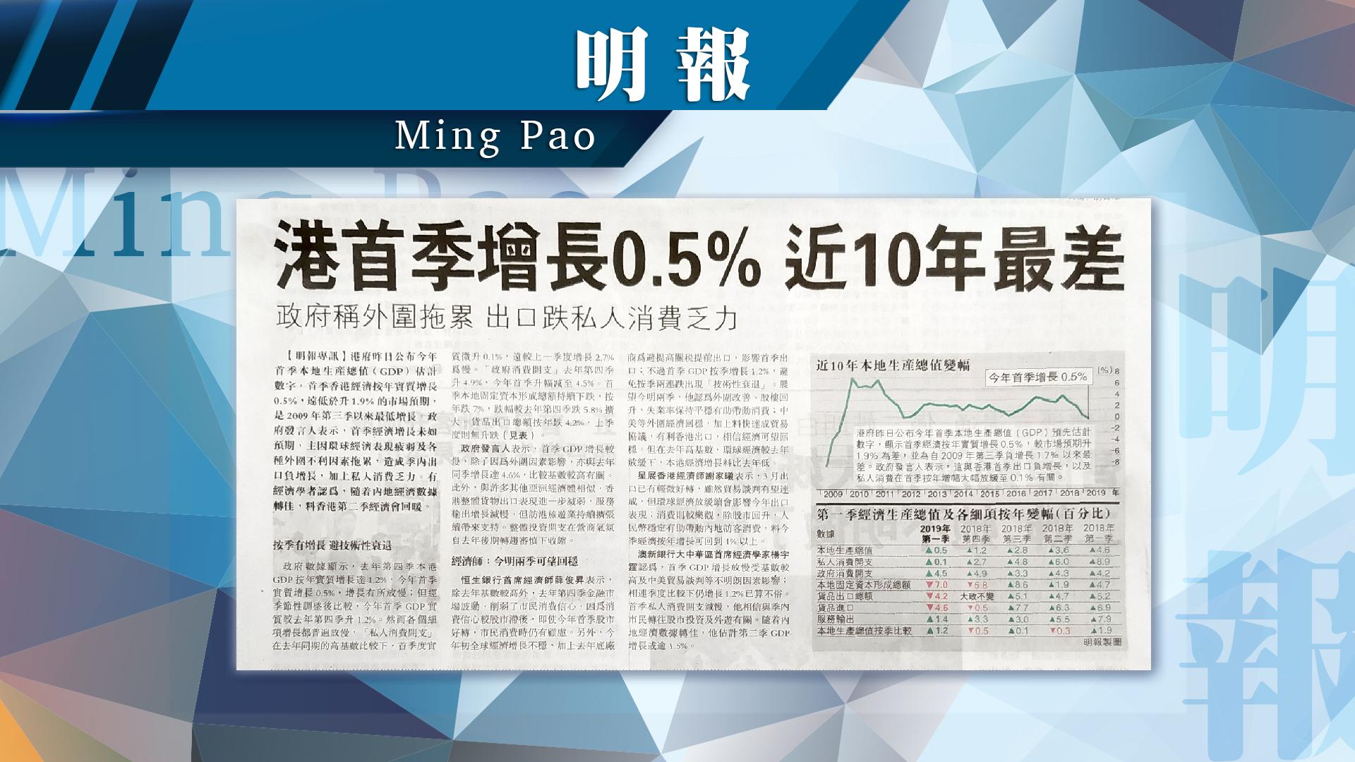 【報章A1速覽】港首季經濟僅增0.5% 10年最差;女大狀嚴重流失 公會研侍產假補貼