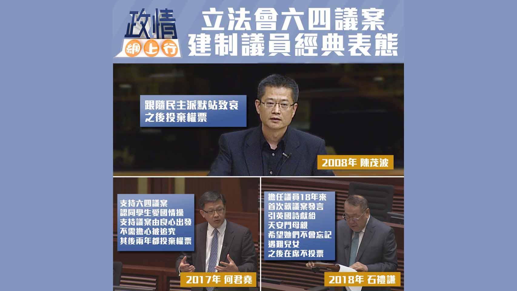 【政情網上行】立法會六四議案 建制議員經典表態