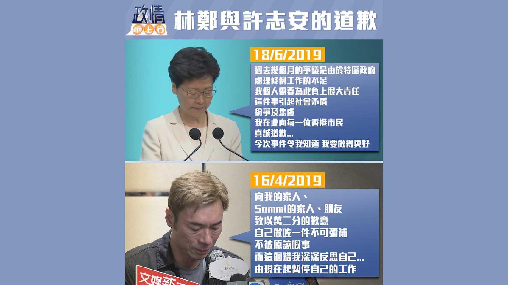【政情網上行】林鄭與許志安的道歉