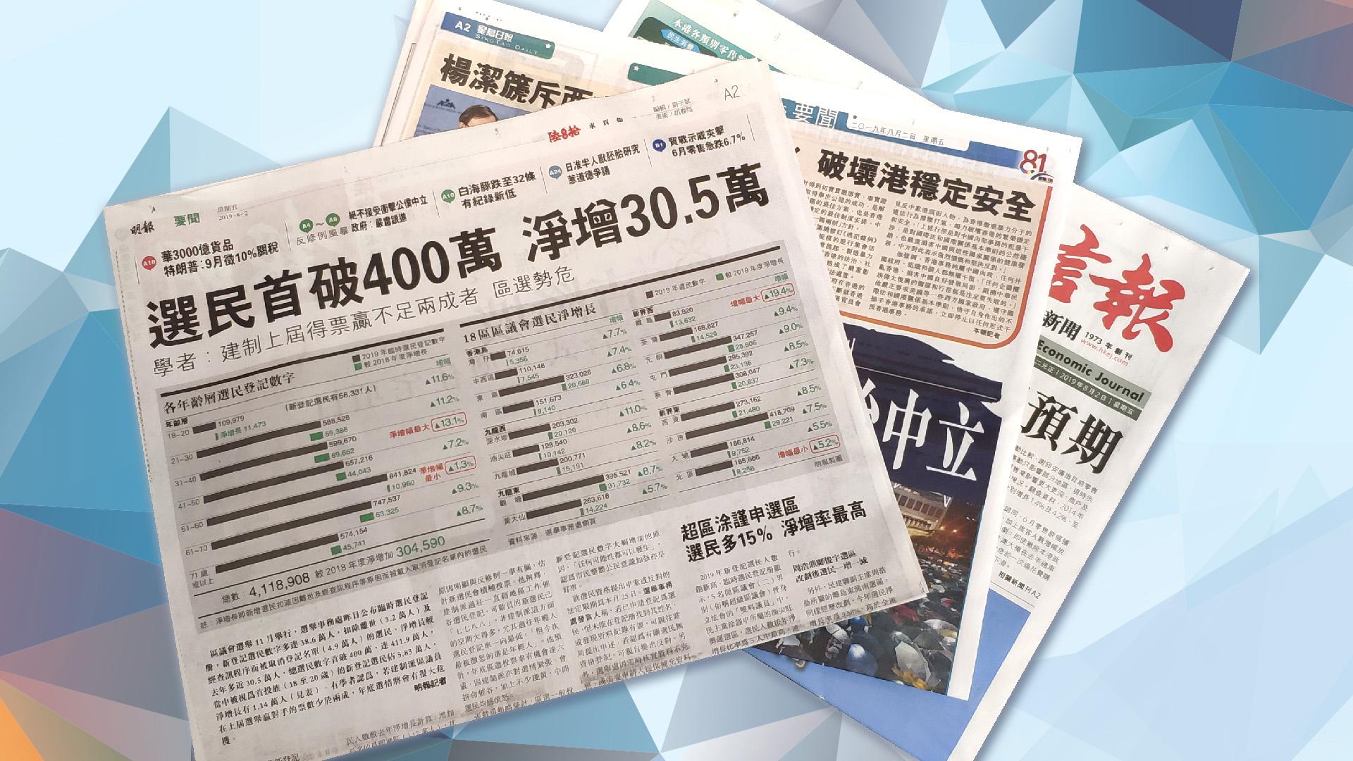 【報章A1速覽】選民首破400萬 淨增30.5萬;港府:絕不接受衝擊政治中立