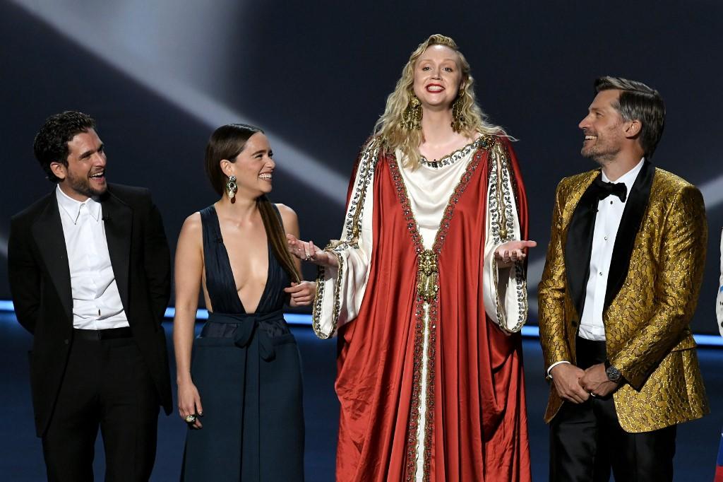 左起︰Kit Harington、Emilia Clarke、Gwendoline Christie、Nikolaj Coster-Waldau。