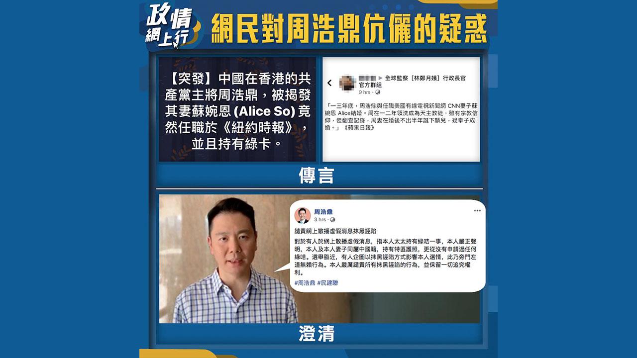 【政情網上行】網民對周浩鼎伉儷的疑惑