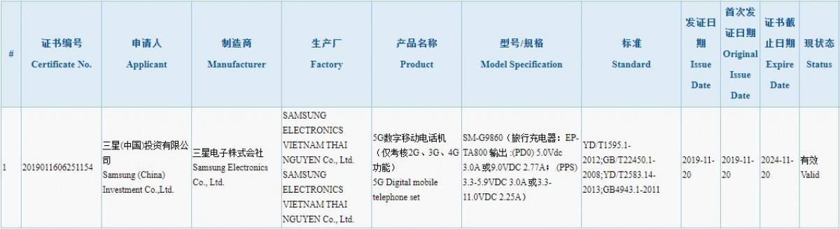 三星 S11 通過中國 3C 認證: 支持 5G + 25W 快速充電