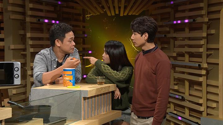 (左起)梁祖堯、陳俞希(Hailey)及蔡瀚億(BabyJohn)首次合作主持「齋talk」飲食節目
