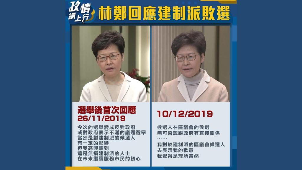 【政情網上行】林鄭回應建制派敗選
