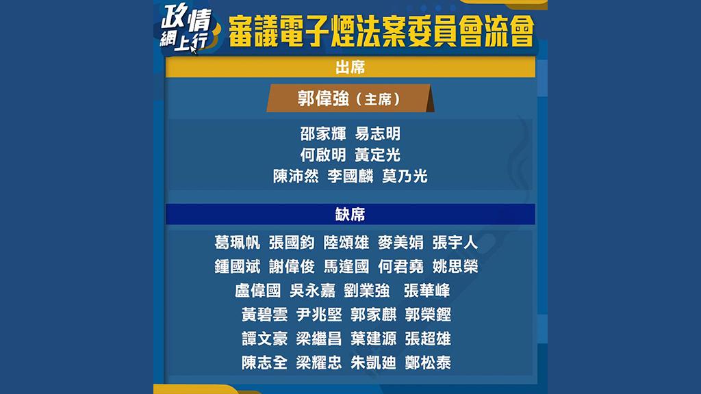 【政情網上行】審議電子煙法案委員會流會
