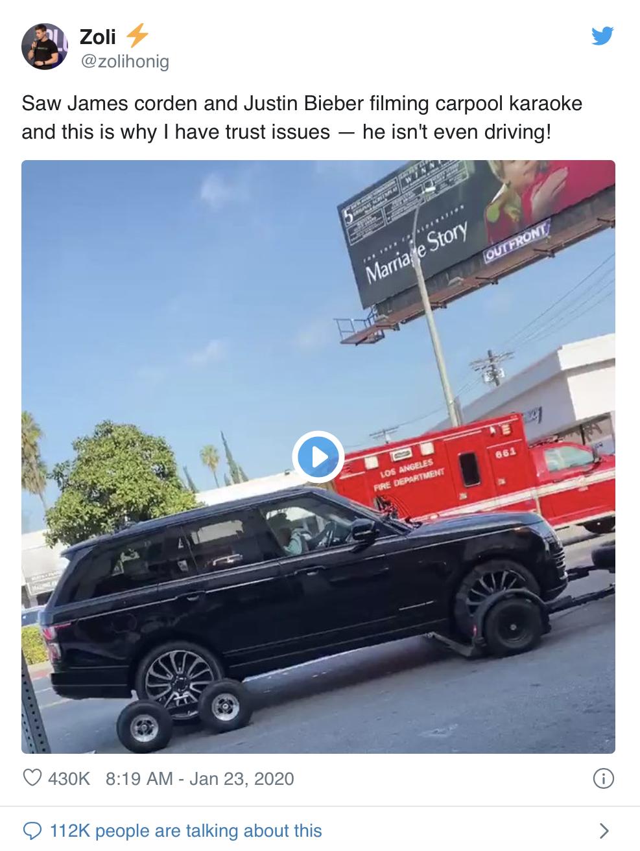 James Corden「車上卡啦OK」 原來不是每次親自開車!
