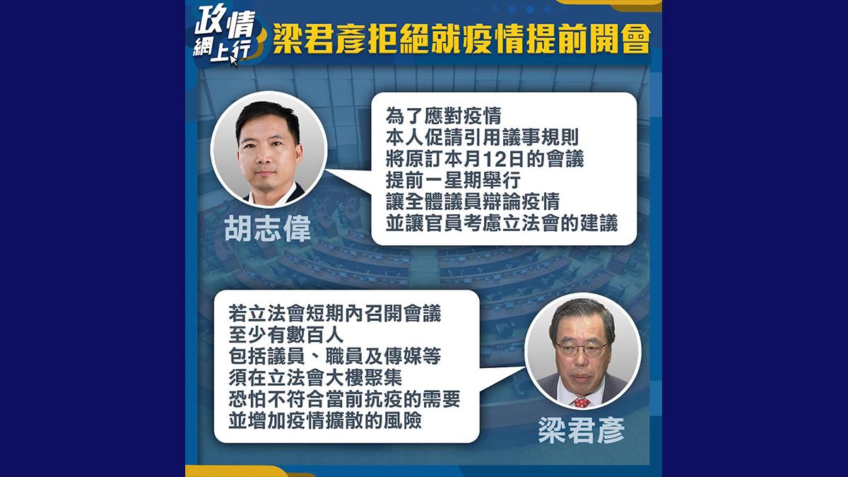 【政情網上行】梁君彥拒絕就疫情提早開會