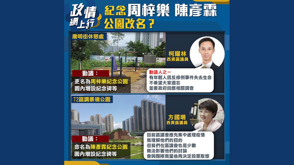 【政情網上行】紀念周梓樂、陳彥霖 公園改名?