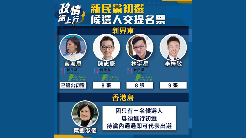 【政情網上行】新民黨初選 候選人交提名票
