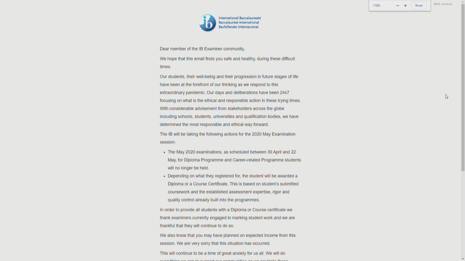 IB向考試委員發通告指取消5月考試 官網未正式宣布