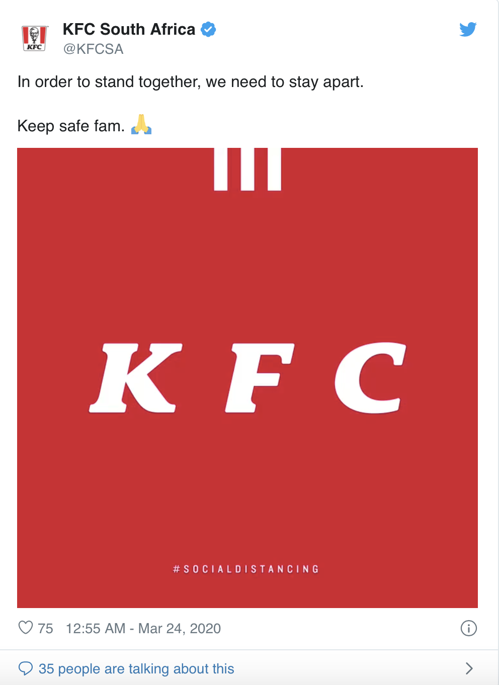 KFC三個字母各自站遠。