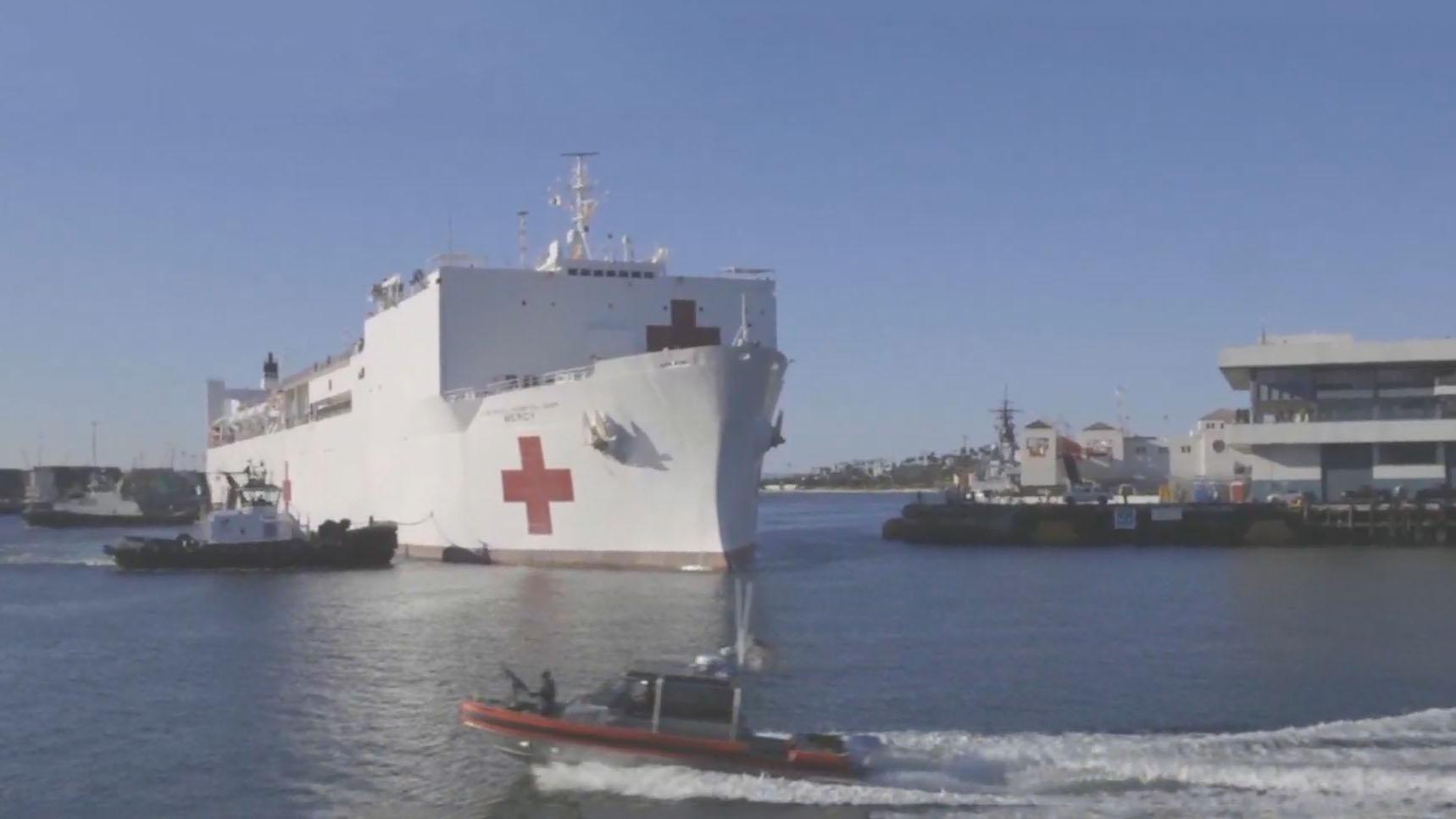 美軍醫療船「仁慈號」抵洛杉磯 當地周一起擴大病毒檢測