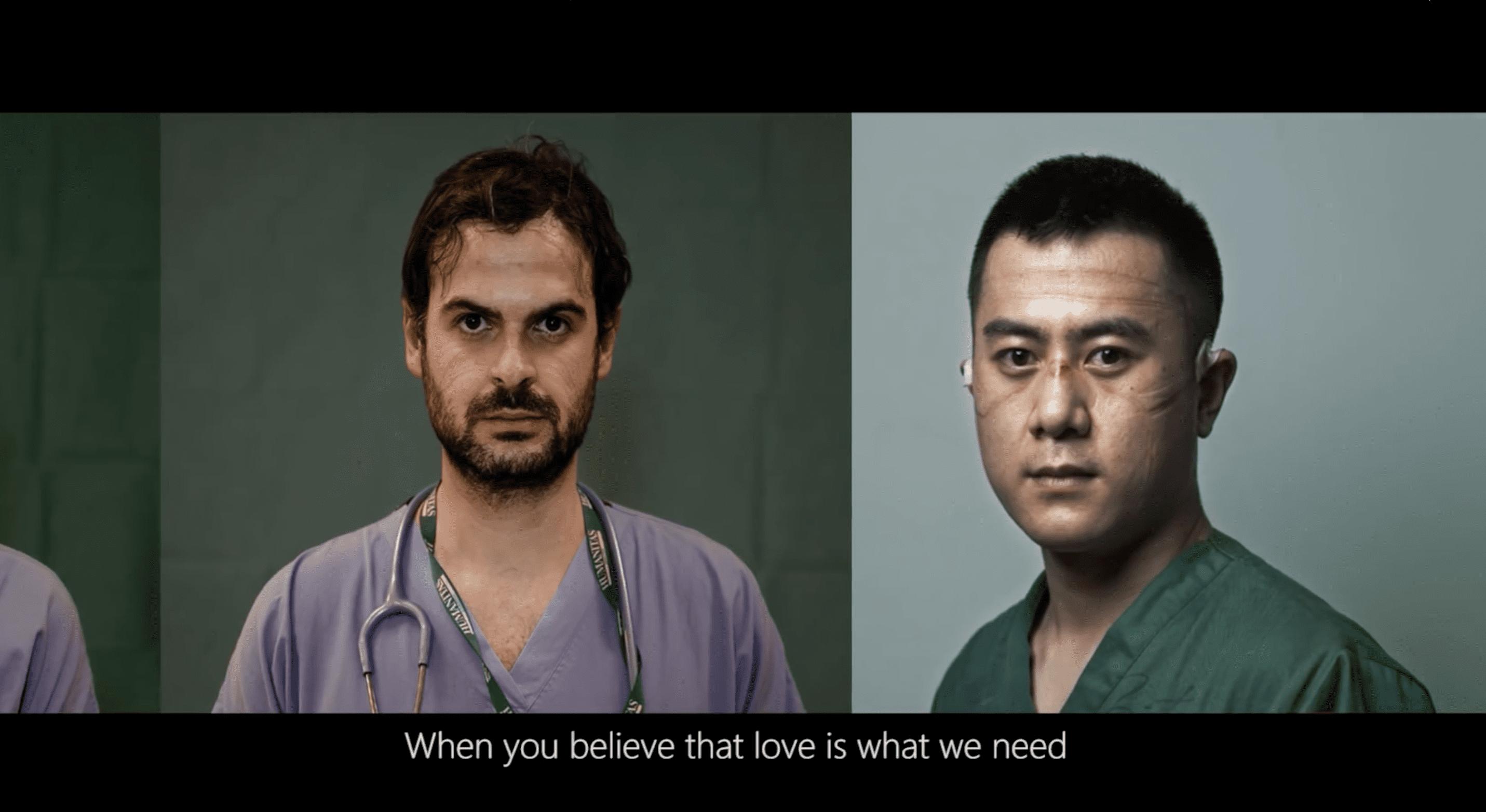 MV穿插海外和中國醫護人員照片