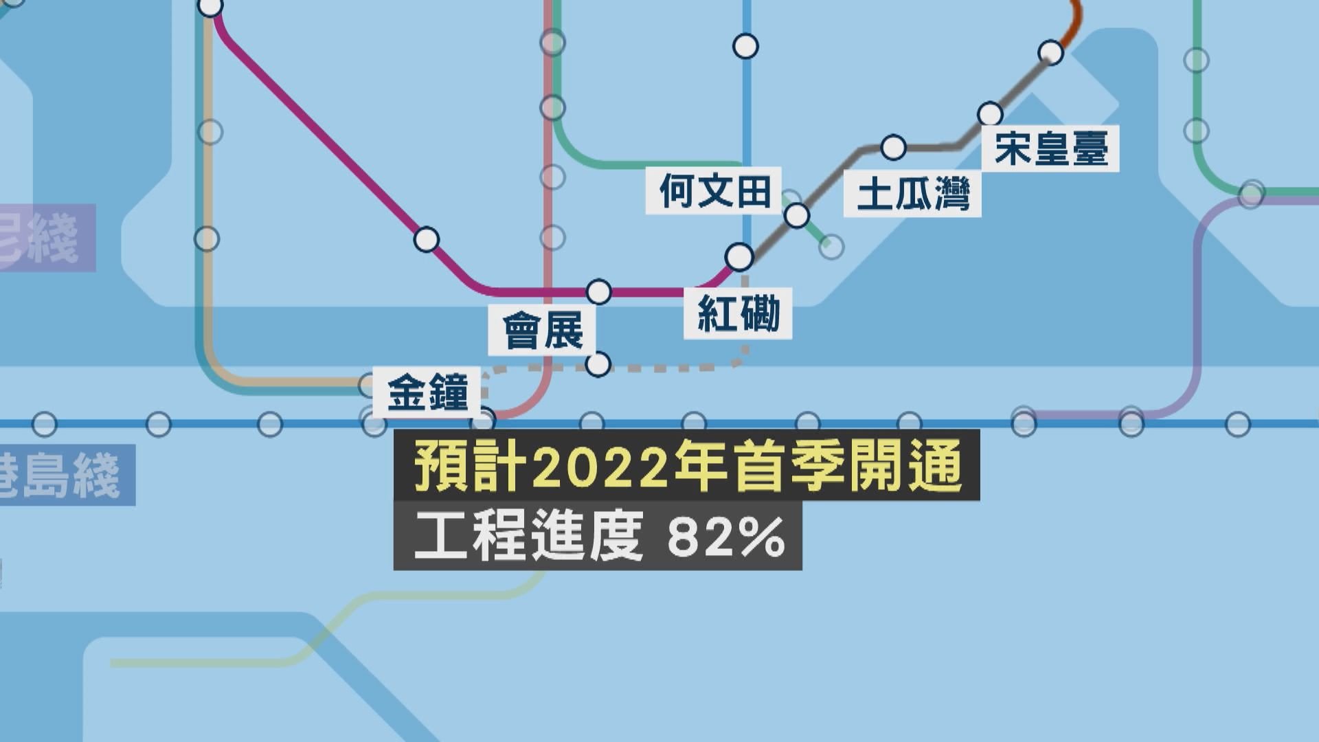 沙中綫過海段預計2022年首季通車