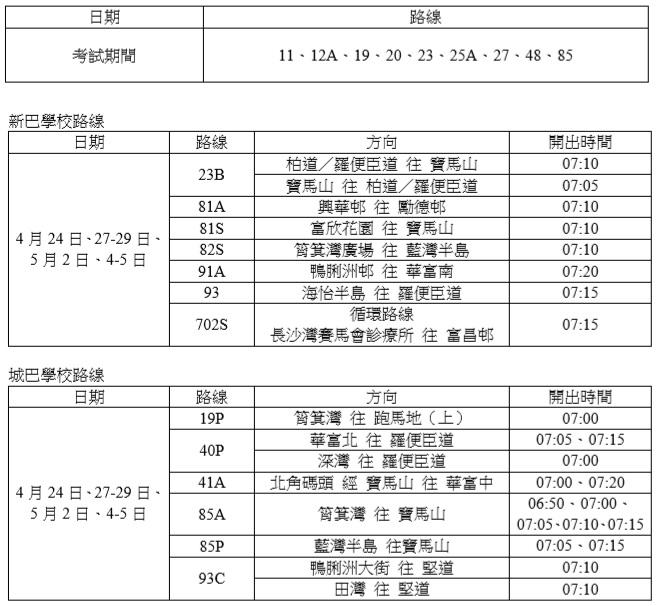 【應考之路】九巴、新巴城巴文憑試期間加強服務(附路線及班次時間表)