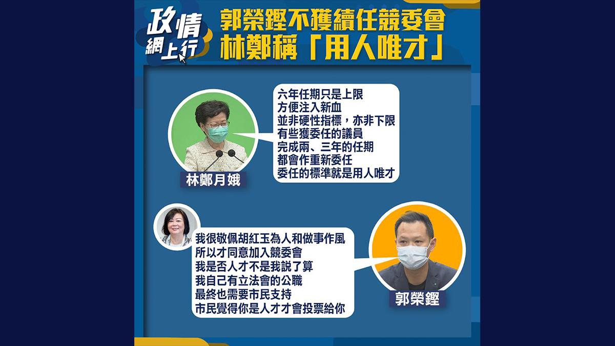 【政情網上行】郭榮鏗不獲續任競委會 林鄭稱「用人唯材」