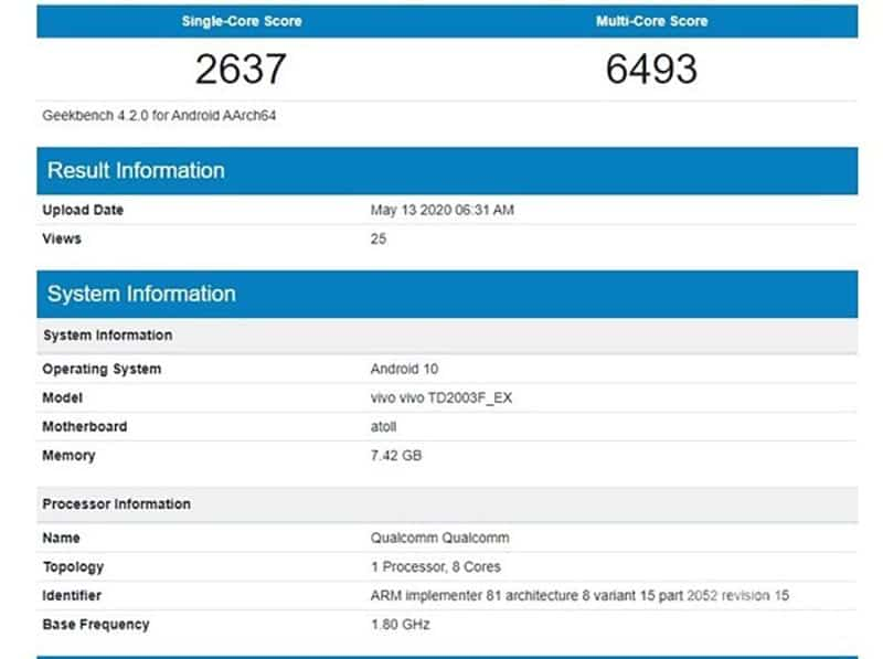 Vivo神秘新機現Geekbench!Snapdragon 720G規格曝光