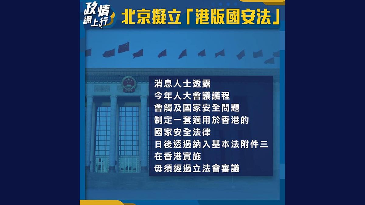 【政情網上行】北京擬立「港版國安法」